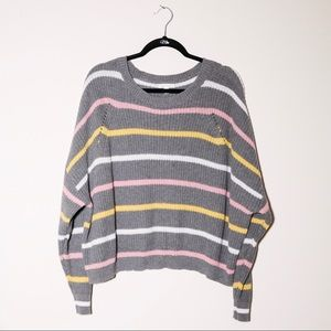 ABOUND Gray striped loose fit knit sweater XXL